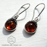 925 Sterling Silver & Baltic Amber Round Drop Earrings - Gift Boxed - Charming And Trendy Ltd