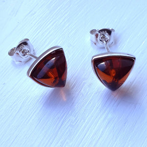 925 Sterling Silver & Baltic Amber Silver Triangle Stud Earrings - Gift Boxed - Charming And Trendy Ltd