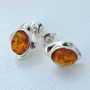 925 Sterling Silver Set Baltic Amber Oval Stud Earrings - Gift Boxed - Charming And Trendy Ltd