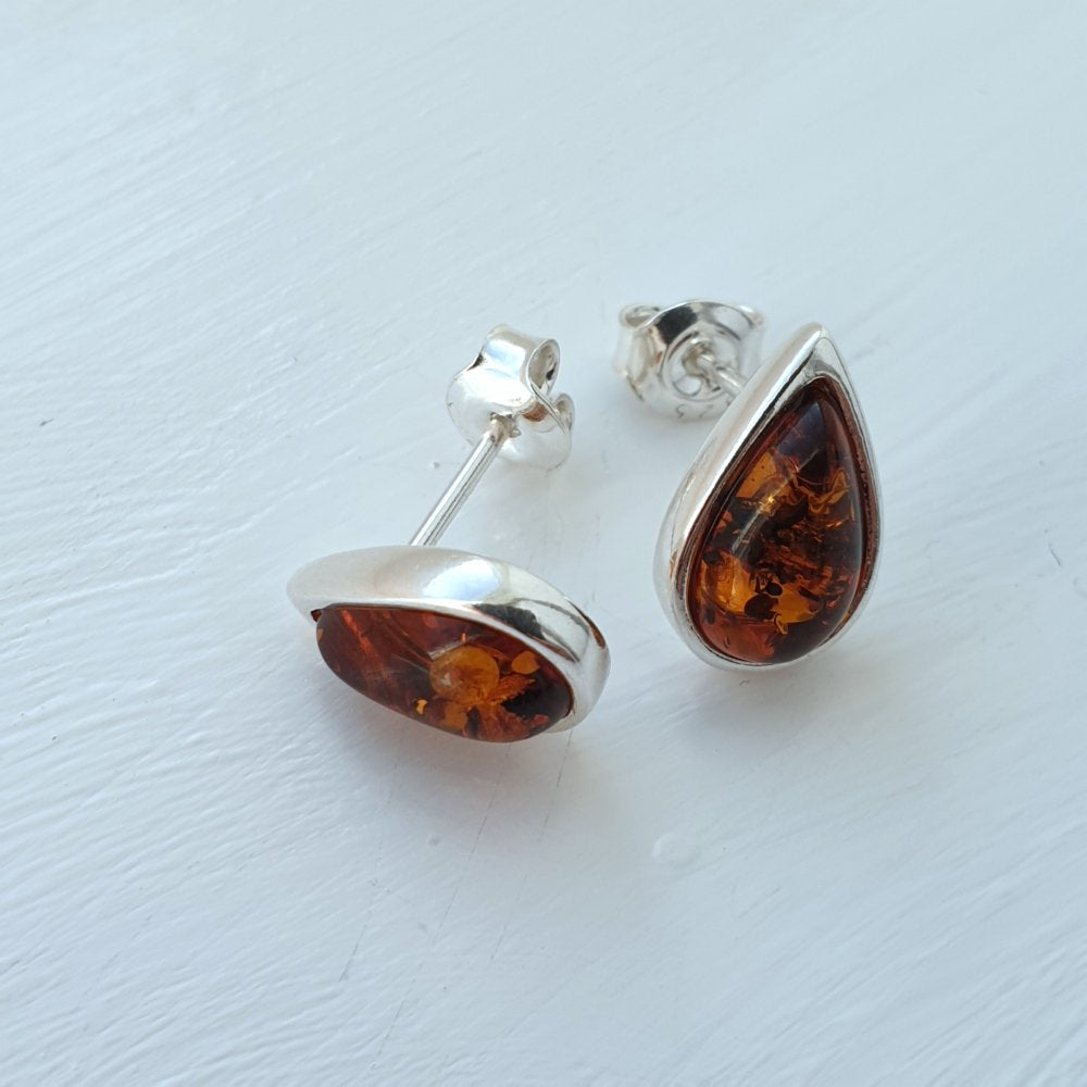 925 Sterling Silver & Baltic Amber Teardrop Stud Earrings - Gift Boxed - Charming And Trendy Ltd