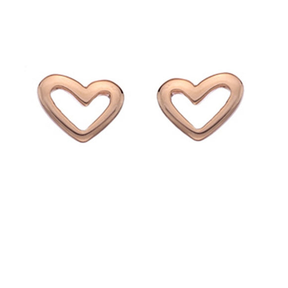 925 Sterling Silver Rose Gold Plated Quirky Heart Earrings - Gift Boxed - Charming And Trendy Ltd