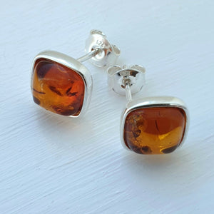 925 Sterling Silver & Baltic Amber Silver Square Stud Earrings - Gift Boxed - Charming And Trendy Ltd