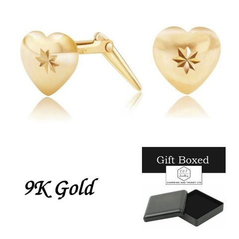 9ct Gold Heart, Diamond Cut Centre Andralok Stud Earrings - Charming And Trendy Ltd