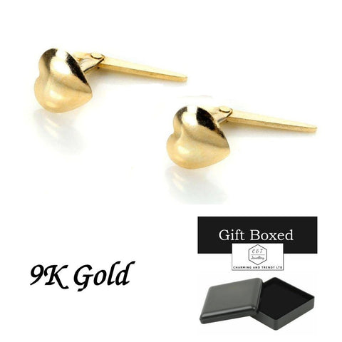 9ct Gold Domed Heart Andralok Stud Earrings - Charming And Trendy Ltd