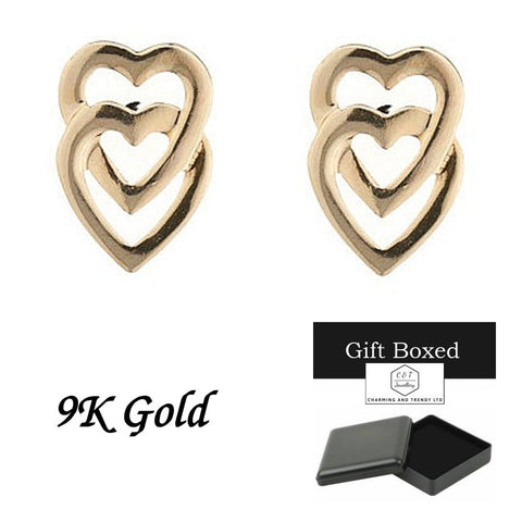9ct Gold Vertically Interlinking Heart Andralok Stud Earrings - Charming And Trendy Ltd