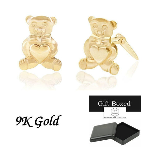 9ct Gold Small Teddy Bear Andralok Stud Earrings - Charming And Trendy Ltd