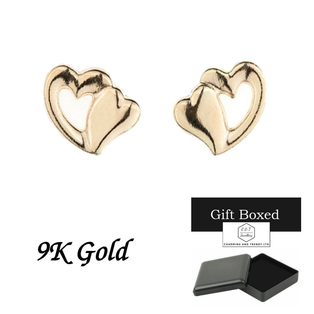 9ct Gold Dual Heart Andralok Stud Earrings - Charming And Trendy Ltd