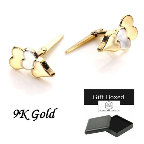 9ct Gold 3 hearts, Centre Heart Rhodium Andralok Stud Earrings - Charming And Trendy Ltd