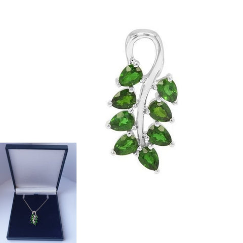 "925 Sterling Silver 1.52ct Chrome Diopside 18"" pendant nacklace (Boxed) - Charming And Trendy Ltd"