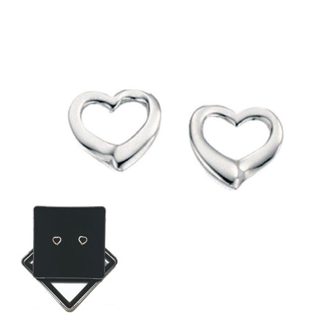 925 Sterling Silver Small Open Heart Studs by Beginnings (E2102) - Charming and Trendy Ltd