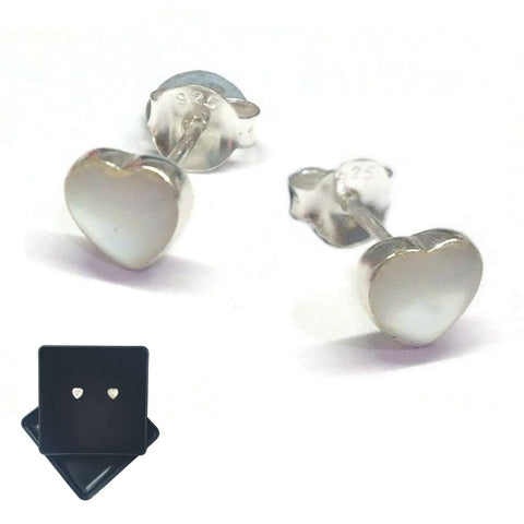 White Mother Of Pearl Heart Stud Earrings - Charming and Trendy Ltd