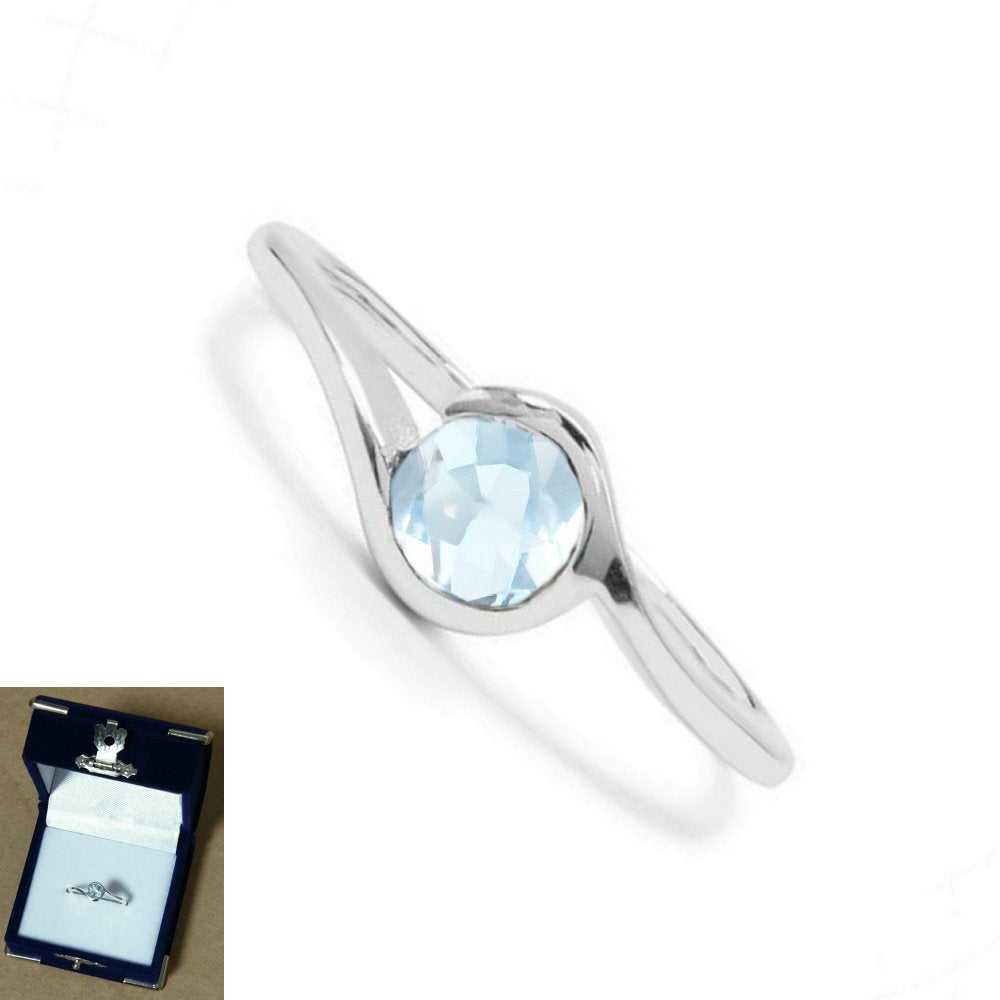 925 Sterling Silver 0.65ct Blue Topaz Gemstone Wrap Design Solitaire Ring - Charming And Trendy Ltd