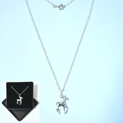 925 Sterling Silver Prancing Horse Pendant by Beginnings P2232 (Boxed) - Charming And Trendy Ltd