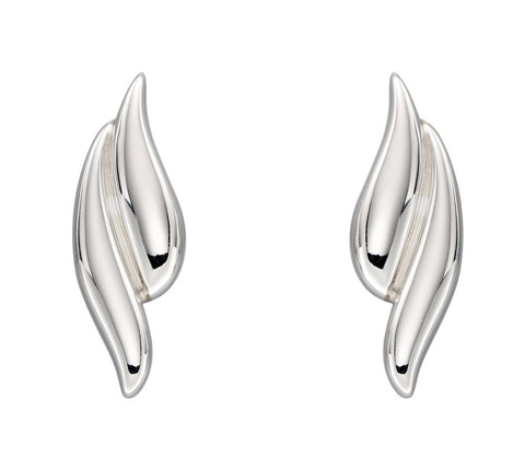925 Sterling Silver Overlapping Curve Stud Earrings by Elements Silver (E5822)