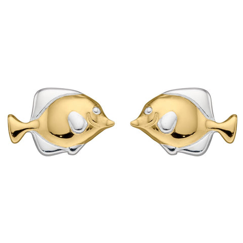 925 Sterling Silver Yellow Gold Plated Fish Stud Earrings by Elements Silver - Charming and Trendy Ltd