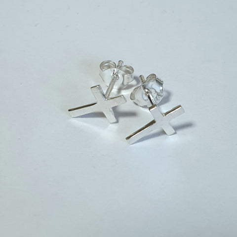 925 Sterling Silver Small Cross Stud Earrings by Beginnings (A991) - Charming and Trendy Ltd