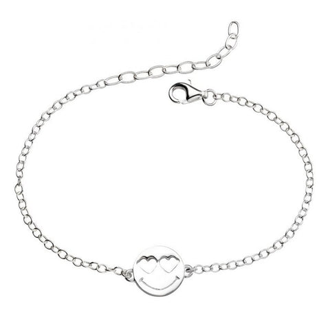 925 Sterling Silver Heart Eyes Emoji Bracelet By Biginnings - Charming and Trendy Ltd