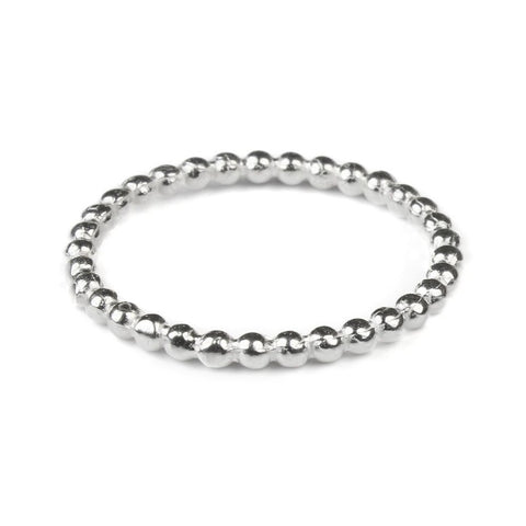925 Sterling Silver Beaded Stacking Band Ring (2mm) - Charming and Trendy Ltd