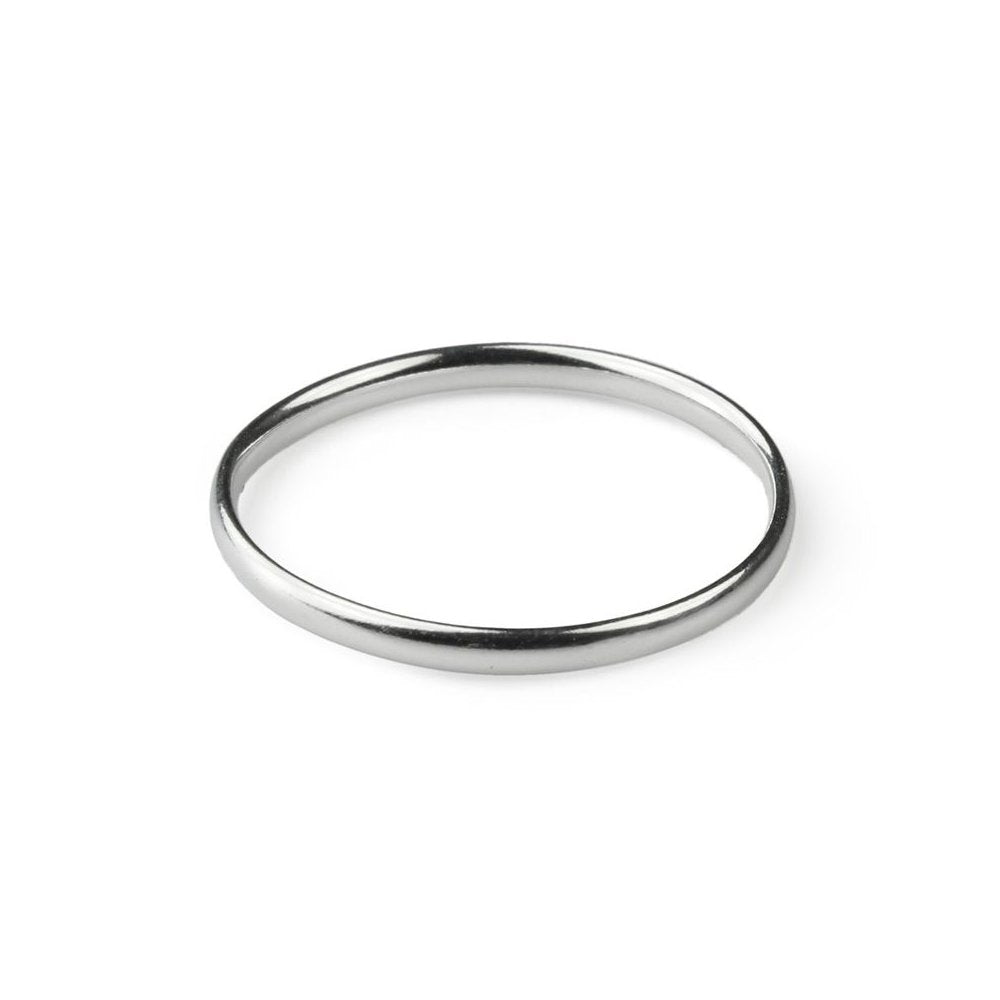 925 Sterling Silver Plain D Shape Stacking Band Ring (2mm) - Charming and Trendy Ltd