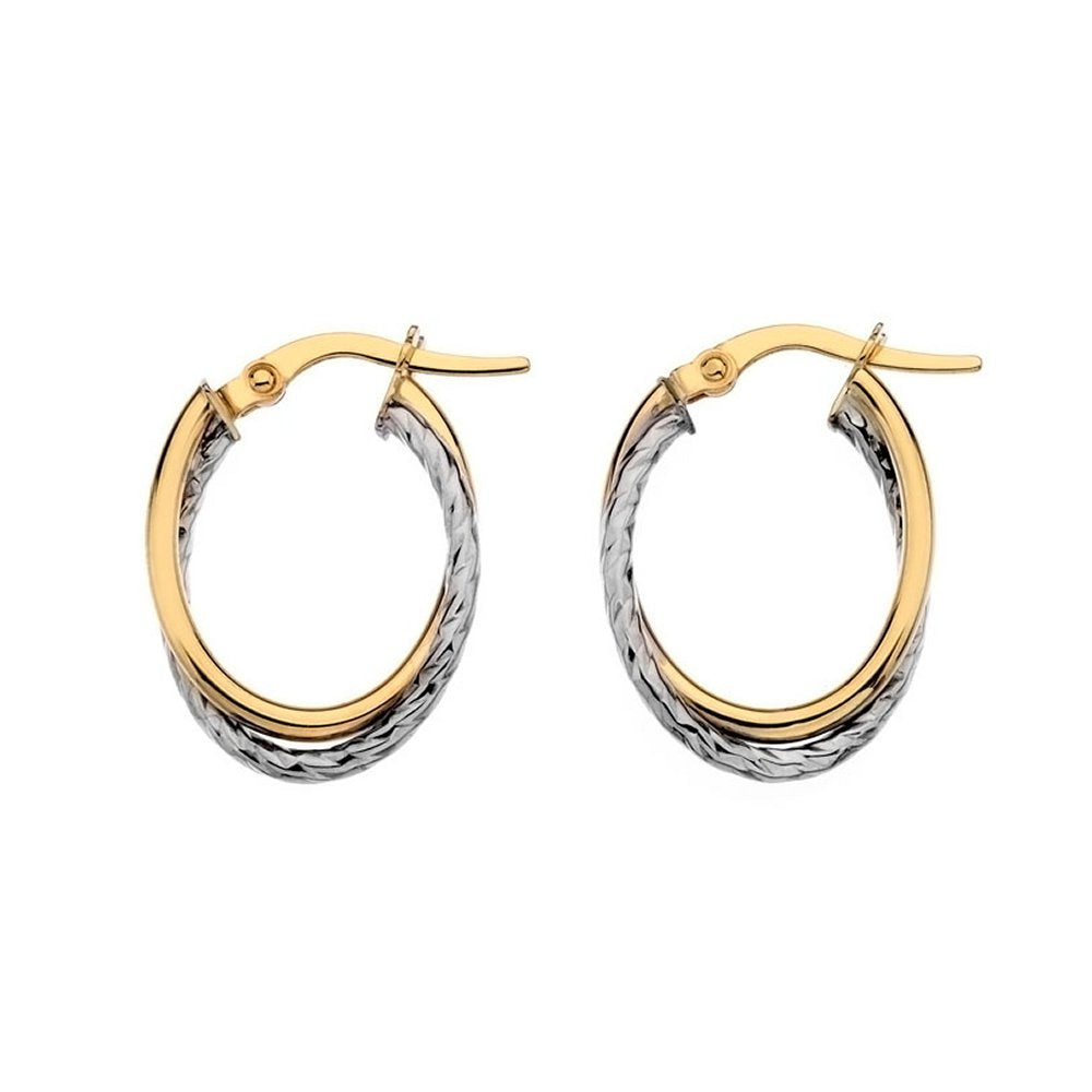 9ct Yellow & White Small Oval Crossover Hoop Earrings - Charming and Trendy Ltd