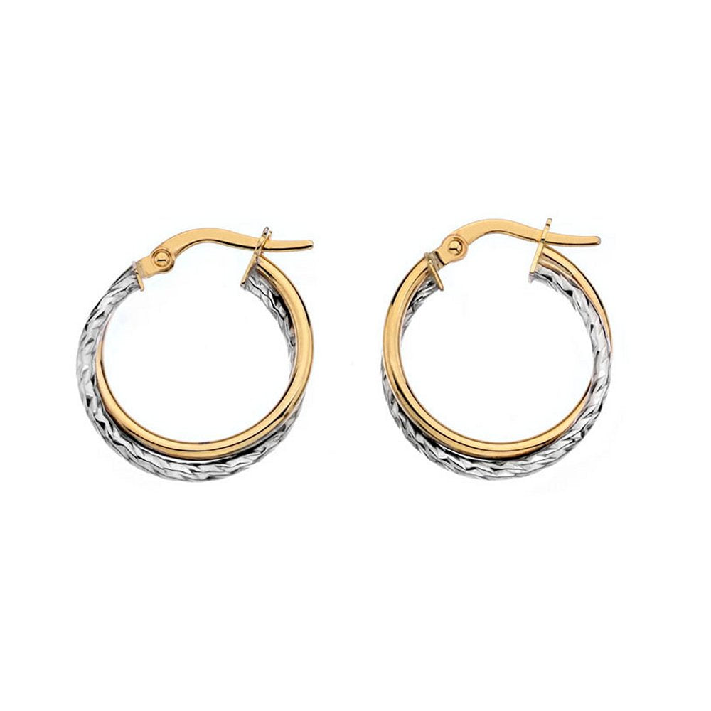 9ct Yellow & White Small Round Crossover Hoop Earrings - Charming and Trendy Ltd