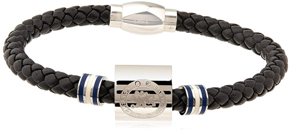 Official Chelsea FC Mens Stainless Steel Black Leather Weave Magnetic Bracelet.