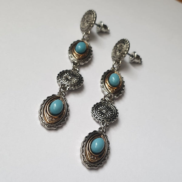 Silver, Gold and Turquoise Stud Dangle Earrings - Charming And Trendy Ltd