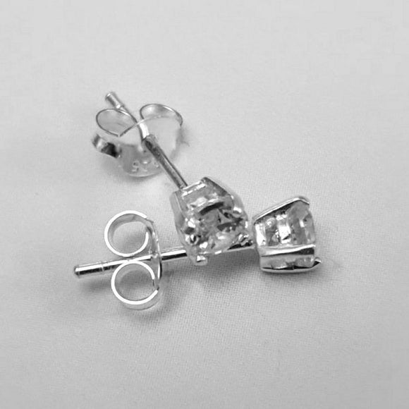 Clear Crystal 4mm Claw Sterling Silver Stud Earrings from 'Beginnings London' - Charming And Trendy Ltd