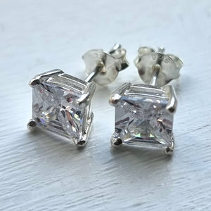 Clear Crystal 6mm Claw Sterling Silver Stud Earrings from 'Beginnings London' - Charming And Trendy Ltd