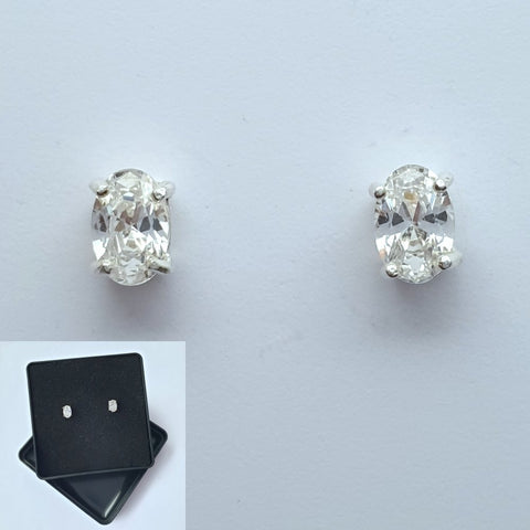 925 Sterling Silver Cubic Zirconia Oval Studs by Beginnings (Boxed) - Charming And Trendy Ltd