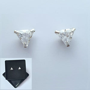 925 Sterling Silver Cubic Zirconia Small Triangular Studs by Beginnings (Boxed) - Charming And Trendy Ltd