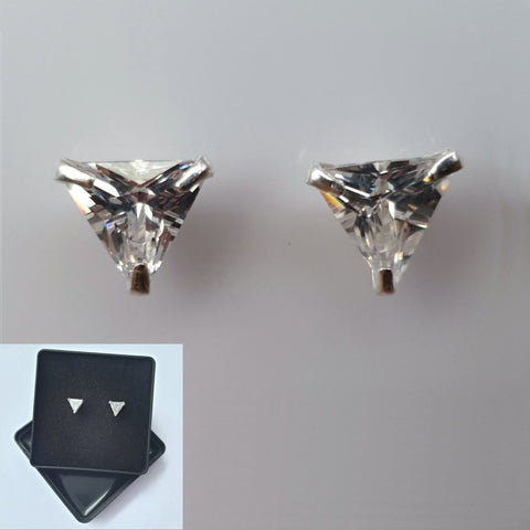 925 Sterling Silver Cubic Zirconia Triangular Studs by Beginnings (Boxed) - Charming And Trendy Ltd