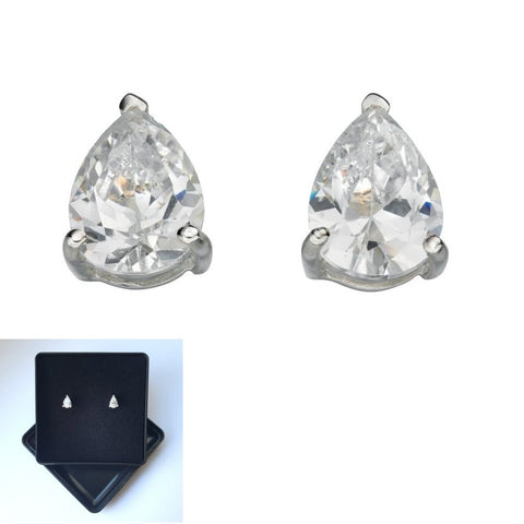 925 Sterling Silver Cubic Zirconia Teardrop Studs by Beginnings (Boxed) - Charming And Trendy Ltd