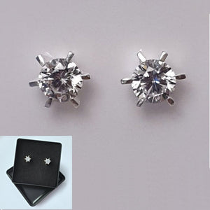 925 Sterling Silver Cubic Zirconia Round Studs by Beginnings (Boxed) - Charming And Trendy Ltd