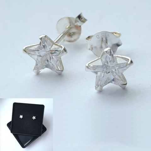 925 Sterling Silver Cubic Zirconia Small Star Studs by Beginnings (Boxed) - Charming And Trendy Ltd