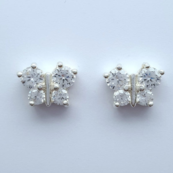 925 Sterling Silver Cubic Zirconia Butterfly Studs by Beginnings (Boxed) - Charming And Trendy Ltd