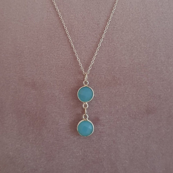925 Sterling Silver Natural Aquamarine Necklace - Gift Boxed - Charming And Trendy Ltd