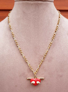 Metallic Gold Coloured Necklace with Bar & White Winged Red Heart Pendant - Charming And Trendy Ltd