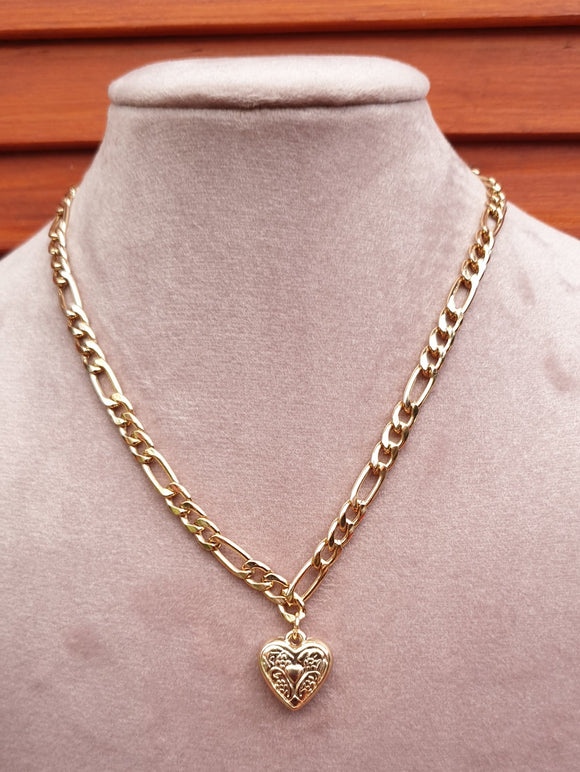 Metallic Gold Coloured Necklace and Heart Pendant