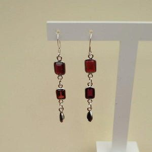 Purple Quartz and Black Onyx Sterling Silver Dangle Earrings - Charming And Trendy Ltd