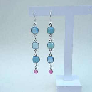 Natural Aquamarine and Rose Quartz Sterling Silver Dangle Earrings - Charming And Trendy Ltd