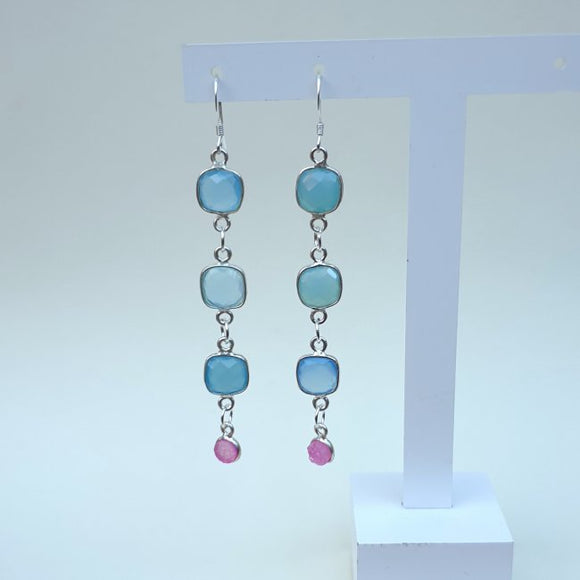 Natural Aqua and Rose Quartz Sterling Silver Dangle Earrings. CT9023 - Charming and Trendy Ltd