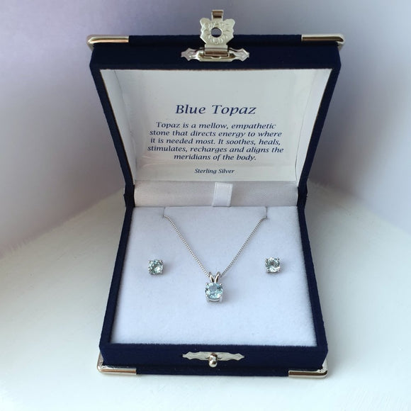 925 Sterling Silver Blue Topaz Solitaire Pendant & Stud Earring Set (Boxed) - Charming And Trendy Ltd