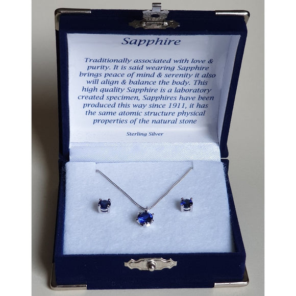 Sapphire Solitaire Sterling Silver Pendant & Stud Earring Set (Boxed)