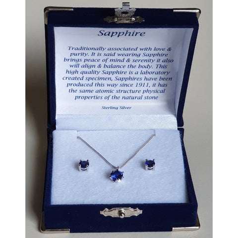 Sapphire Solitaire Sterling Silver Pendant & Stud Earring Set (Boxed) - Charming And Trendy Ltd