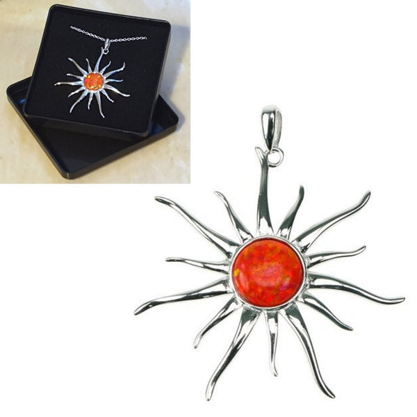 "Fire Opal Sun Sterling Silver Pendant 16"",18"",20"",22"" and 24"" - Gift Boxed - Charming And Trendy Ltd"