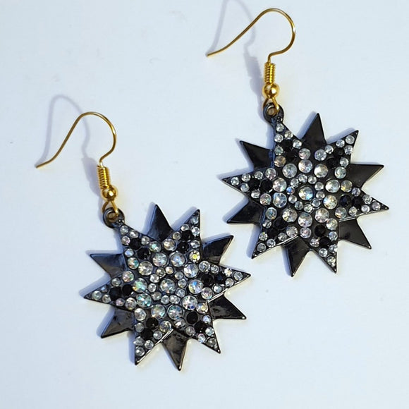Black Star Earrings embellished with clear Diamantes - Charming And Trendy Ltd