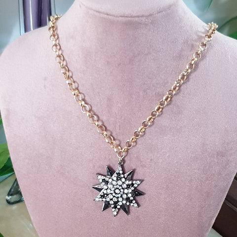 Black Star Necklace embellished with clear Diamantes - Charming And Trendy Ltd
