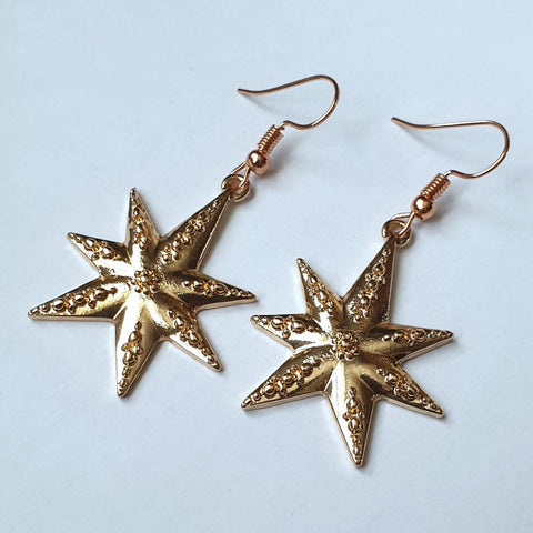Gold Star Metal Earrings - Charming And Trendy Ltd