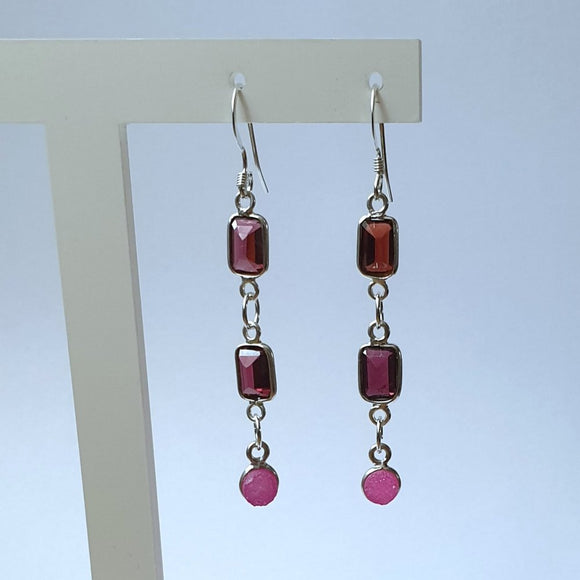 Purple and Rose Quartz Sterling Silver Dangle Earrings - CT9039